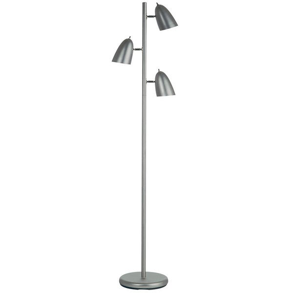 Dainolite satin chrome 3 light floor lamp with adjustable for Monique 3 light adjustable floor lamp