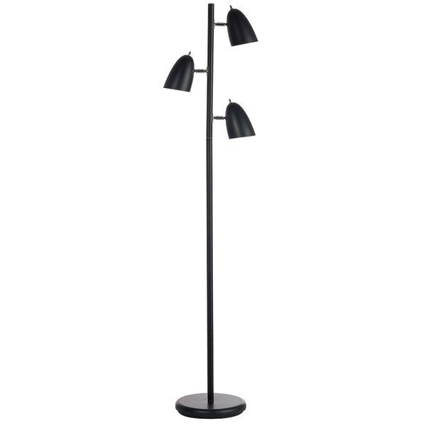 3-light Matte Black Adjustable Floor Lamp