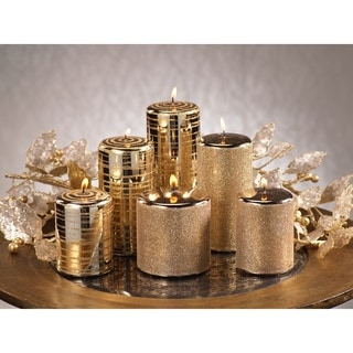 Metallic Goldtone Glitter Brush Candles (Set of 6)