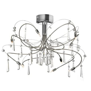 10-light Crystal and Satin Chrome Semi Flush Fixture