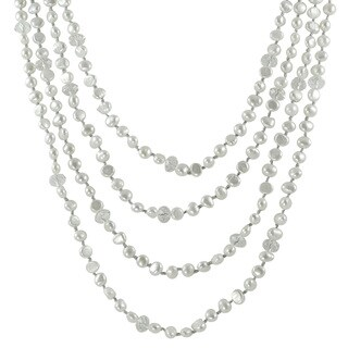 100-inch White Baroque Freshwater Pearl Glass Bead Necklace (6-7 mm)
