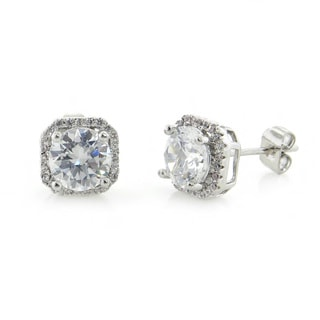 Eternally Haute Brass 5ct TGW Halo Cubic Zirconia Stud Earrings