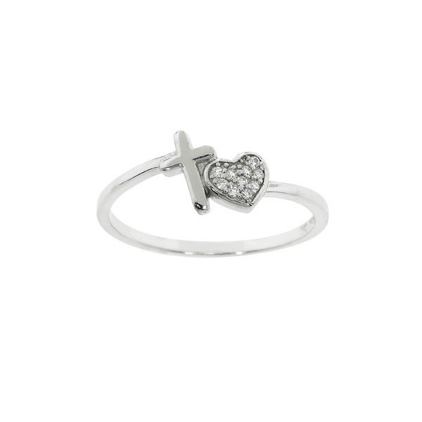 Eternally Haute Sterling Silver Pave-set Cubic Zirconia Cross Your Heart Ring
