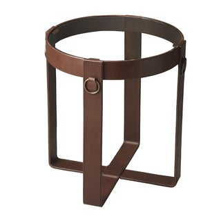 Leather and Steel Side Table