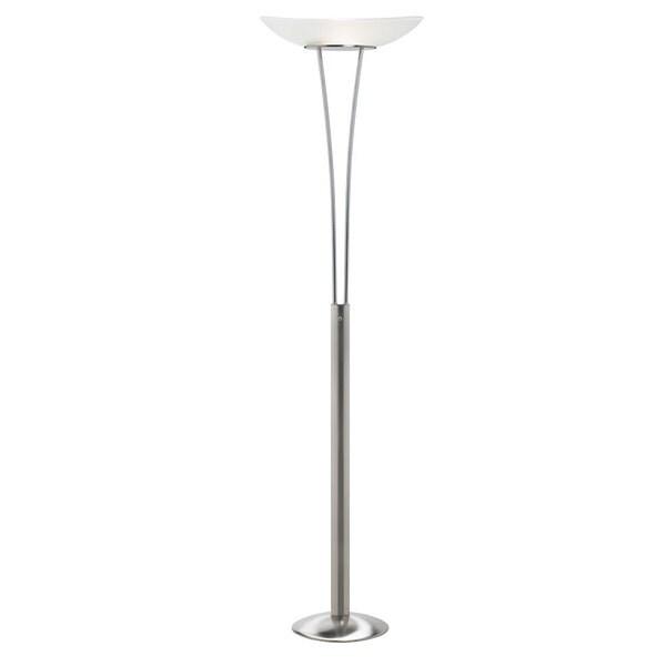 Satin Chrome 1-Light Torchier Floor Lamp