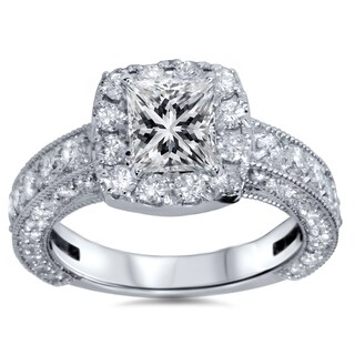 14k White Gold 2 1/2ct TDW Clarity-enhanced Princess-cut Diamond Heirloom Ring