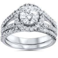 14k White Gold 1 3/4 ct TDW White Diamond Split Shank Halo Bridal Set