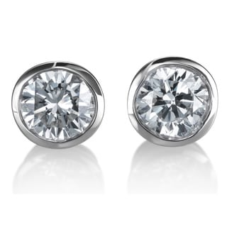 Stud Diamond Earrings 1ct TDW 14k White Gold Bezel-set by SummerRose