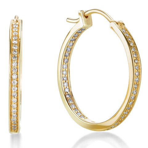SummerRose 14k Gold 1/2ct TDW Pave Inside-Out Hoop Earrings