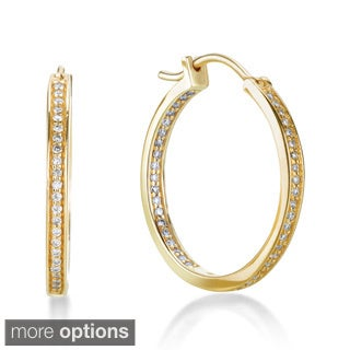 SummerRose 14k Gold 1/2ct TDW Pave-set Inside-out Hoop Earrings (G-H, SI1-SI2)