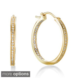 SummerRose 14k Gold 1/2ct TDW Pave-set Inside-out Hoop Earrings