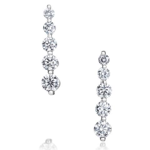 SummerRose 14K White Gold 1ct TDW Five-stone Graduated Line Earrings
