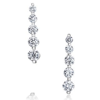 SummerRose 14K White Gold 1ct TDW Five-stone Graduated Line Earrings