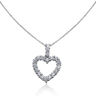 SummerRose 14k White Gold 2 4/5ct TDW Diamond Heart Shape Pendant Necklace (G-H, SI1-SI2)