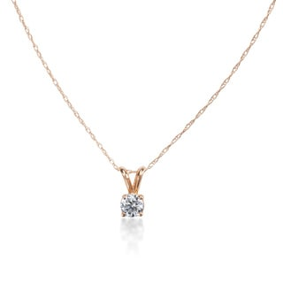 SummerRose 14k White or Yellow Gold 1/2ct Solitaire Pendant Cable-chain Necklace