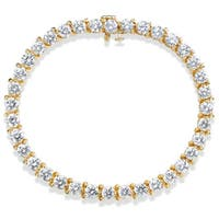 SummerRose 14k Yellow Gold 10ct TDW 3-prong Basket-set Diamond Tennis Bracelet
