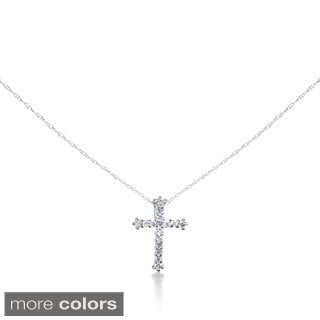 SummerRose 14k Gold 1/4ct Diamond Cross Cable-chain Pendant