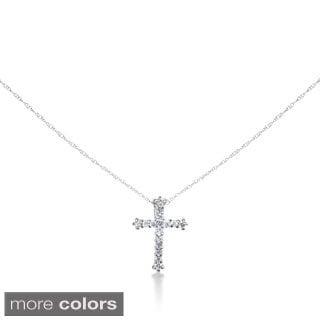 SummerRose 14k Gold 1/4ct Diamond Cross Cable-chain Pendant (G-H, SI1-SI2)