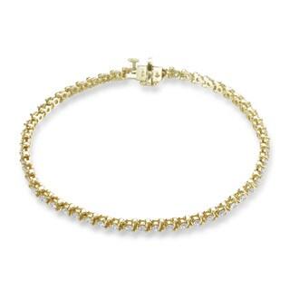 SummerRose 14k Yellow Gold 2ct TDW 3-prong Basket-set Diamond Tennis Bracelet