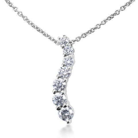 SummerRose 14k White Gold 1ct TDW Diamond Graduated Journey Necklace