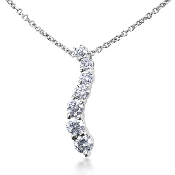 SummerRose 14k White Gold 1ct TDW Diamond Graduated Journey Necklace