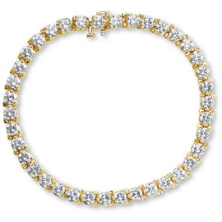 SummerRose 14k Yellow Gold 8ct TDW 3-prong Basket Set Tennis Bracelet (G-H, SI1-SI2)