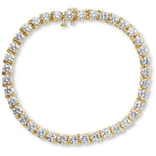 SummerRose 14k Yellow Gold 8ct TDW 3-prong Basket-set Diamond Tennis Bracelet