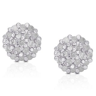 Finesque Sterling Silver 1/4ct White Diamond Pave Ball Stud Earrings