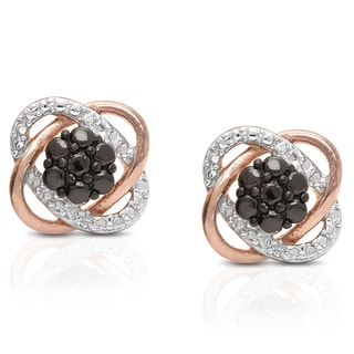 Finesque Rose Gold Over Sterling Silver Diamond Accent Stud Earrings