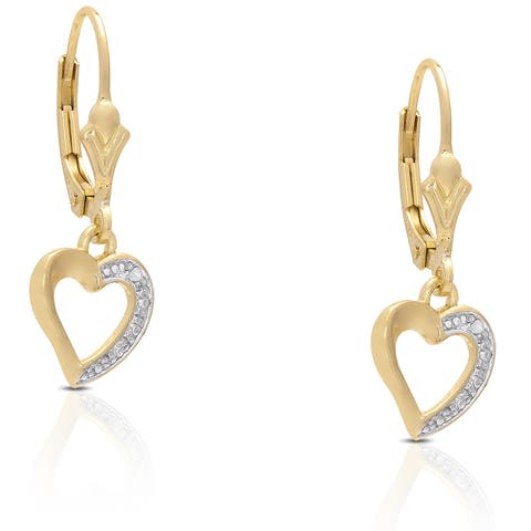 Finesque Gold Over Sterling Silver Diamond Accent Leverback Heart Earrings