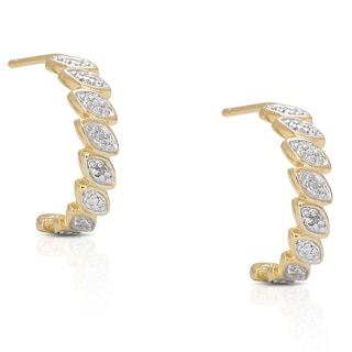 Finesque Gold Over Sterling Silver Diamond Accent Half Hoop Earrings