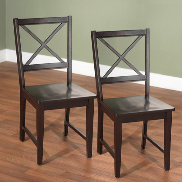 shop simple living espresso crossback dining chairs set of 2 free shipping today overstock. Black Bedroom Furniture Sets. Home Design Ideas