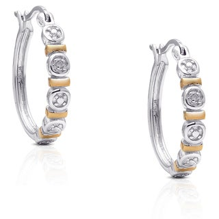 Finesque Two-tone Gold Over Sterling Silver Diamond Accent Hoop Earrings