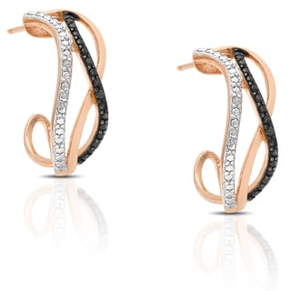 Finesque Rose Gold Over Sterling Silver Diamond Accent Infinity Design Half Hoop Earrings