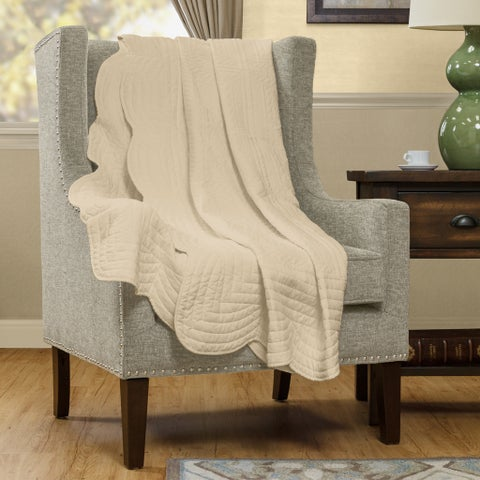 Clay Alder Home Campbell Oversized Quilted Throw with Scalloped Edges