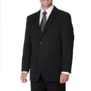 Cianni Cellini Men's Black Wool Gabardine Suit|https://ak1.ostkcdn.com/images/products/9460027/P16643396.jpg?impolicy=medium