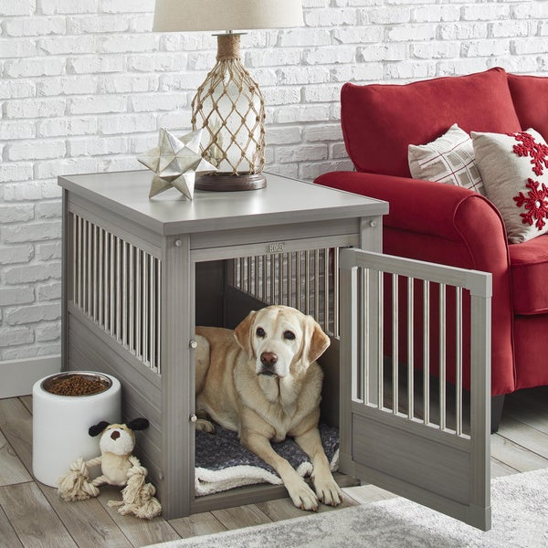Beautiful EcoFLEX Dog Crate/End Table With Stainless Steel Spindles