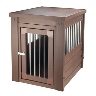 ecoFLEX Dog Crate/ End Table with Stainless Steel Spindles (Russet - Small)