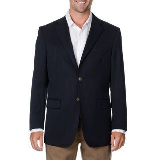 Cianni Cellini Men's Big & Tall Navy Wool Gabardine Blazer