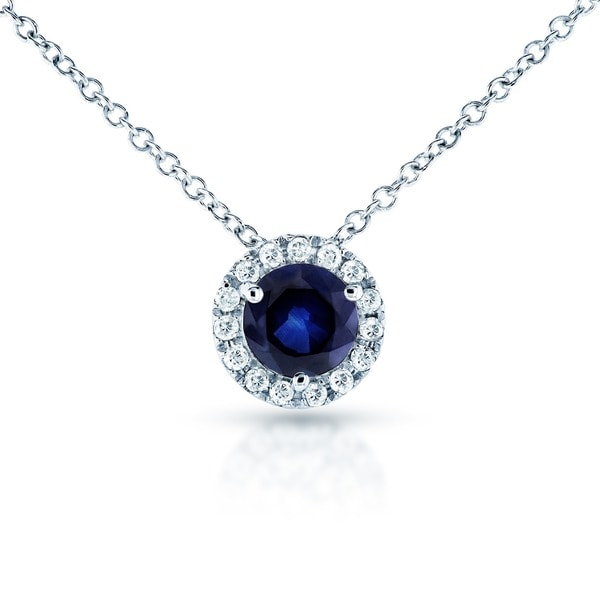 Annello by Kobelli 14k White Gold Round Blue Sapphire and 1/10ct TDW Diamond Necklace (G-