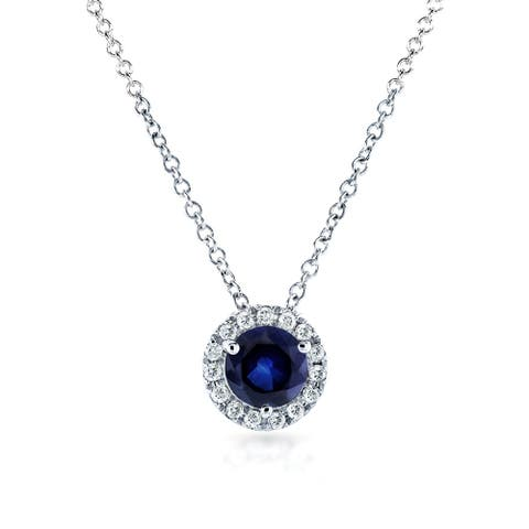 Annello by Kobelli 14k White Gold 4/5ct TGW Round Blue Sapphire and Diamond Halo Necklace
