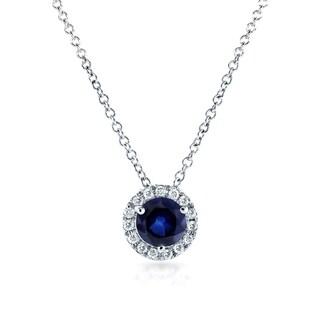 Annello by Kobelli 14k White Gold 4/5ct TGW Round Blue Sapphire and Diamond Halo Necklace