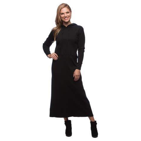Live A Little Women's Black Hooded Knit Dress