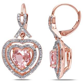 Miadora 10k Rose Gold Morganite and 1/2ct TDW Diamond Earrings (H-I, I2-I3)
