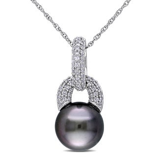 Miadora 10k White Gold Tahitian Pearl and 1/5ct TDW Diamond Necklace (8-9 mm) (H-I, I2-I3)