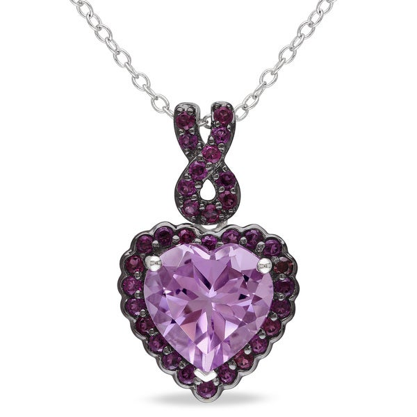 Miadora Sterling Silver Rose de France and Purple Garnet Heart Necklace