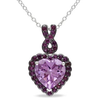 Miadora Sterling Silver Rose de France and Purple Garnet Heart Necklace