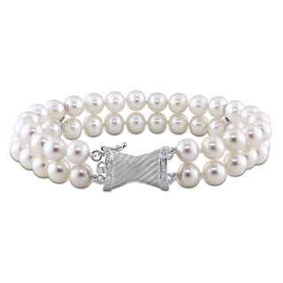 Miadora 14k White Gold FW Pearl and 1/10ct TDW Diamond Bracelet (6-7 mm)