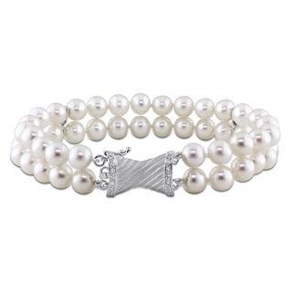 Miadora 14k White Gold FW Pearl and 1/10ct TDW Diamond Bracelet (6.5-7 MM)