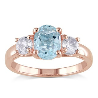 Miadora Rose Plated Silver Aquamarine and White Sapphire 3-stone Ring